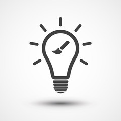 Drawing Idea icon. Lamp sign. Light bulb icon. Brush icon.