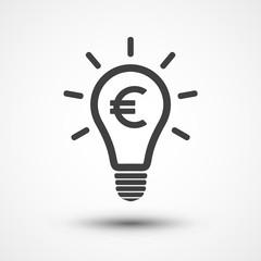 Money idea icon. Euro icon. Light bulb with euro symbol business concept