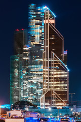 Wall Murals Shanghai night cityscape Moscow City