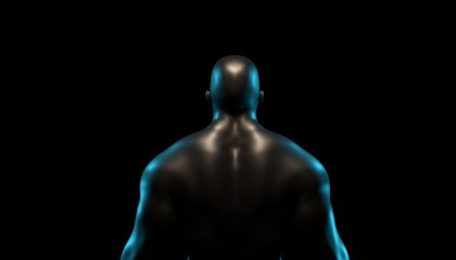 Silhouette of a strong, athletic man with dark background. 3d render