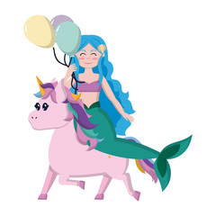cute siren with balloon riding unicorn