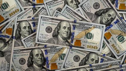 Macro shot of a 100 dollar. Dollars Closeup Concept. American Dollars Cash Money. Bucks. Background of the hundred dollar bills