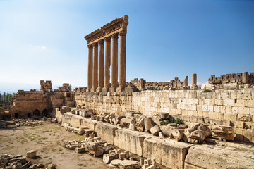 The columns of the Jupiter Tempel of Baalbek, Lebanon