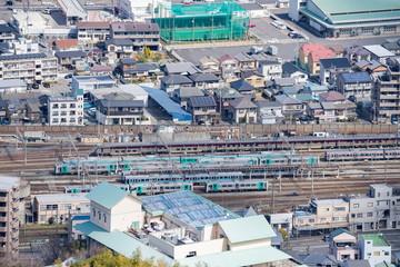 Cityscape of Railroad Yard in Takamatsu city,Kagawa,Shikoku,Japan