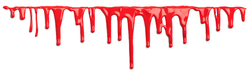 Red blood like paint dripping isolated on white