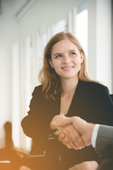 businesswoman shaking hands with business deals