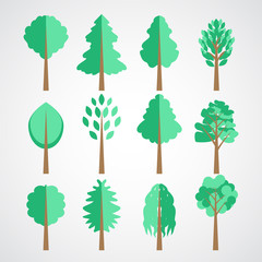 Flat paper style trees vector set for landscapes designs and navigation maps isolated on white. Pollution, wood resources, plant type theme details illustration. Park or forest territory planning.