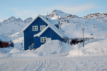 A house in the town of Tasiilaq (former: Ammassaliq) in East Greenland on the Tasillaq-Fjord. Shot in October.