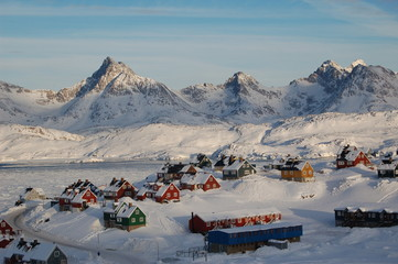 The town of Tasiilaq (former: Ammassaliq) in East Greenland on the Tasillaq-Fjord. Shot in October.