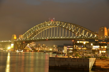 Famous Sydney Harbour Bridge just minutes before the Fireworks begin. Shot on New Years Eve.