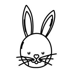 line cute rabbit head wild animal