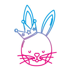 degraded line cute rabbit head with luxury crown