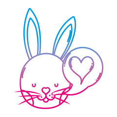 degraded line rabbit head with heart inside chat bubble