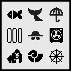 Simple 9 set of Summer related electric fan, fish, sun umbrella and helm vector icons