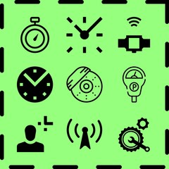Simple 9 icon set of time related helicopter profile, clock, clock and smartwatch vector icons. Collection Illustration