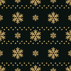 Winter black background with gold snowflakes. For textile, paper, scrapbooking, wrapping, web and print design. Seamless pattern. Vector illustration.
