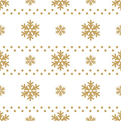 Winter white background with gold snowflakes. For textile, paper, scrapbooking, wrapping, web and print design. Seamless pattern. Vector illustration.