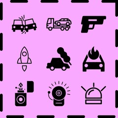 Simple 9 icon set of fire related gun, rocket, alarm bell and evacuator vector icons. Collection Illustration