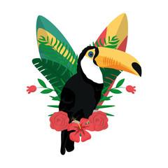 beauty pelican with tropical branches plants