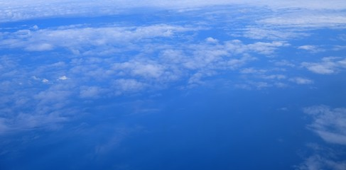 Beautiful blue sky and white cloud view from the plane