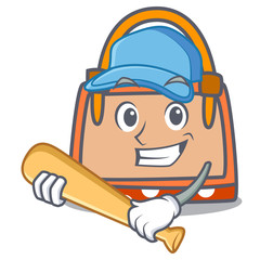 Playing baseball hand bag character cartoon
