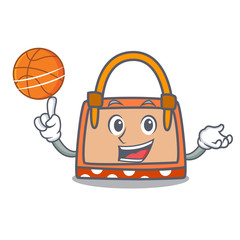 With basketball hand bag character cartoon