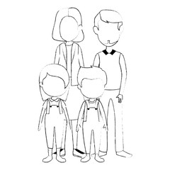 parents couple with kids characters