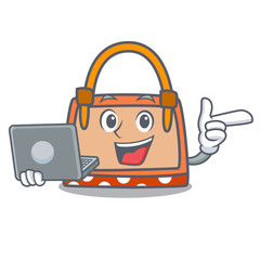 With laptop hand bag character cartoon
