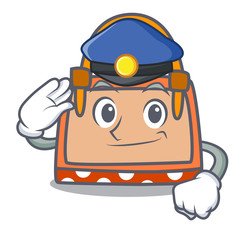 Police hand bag character cartoon