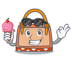 With ice cream hand bag character cartoon