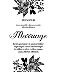 Flower marriage invitation card, save the date card, greeting card vector illustration