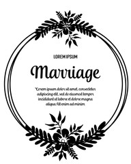 Marriage invitation card. Wedding card template with blooming vector illustration