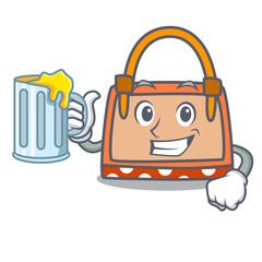 With juice hand bag mascot cartoon