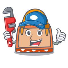 Plumber hand bag mascot cartoon