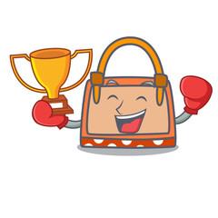 Boxing winner hand bag mascot cartoon