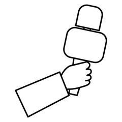 hand reporter with microphone