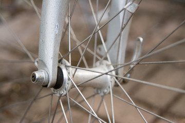 Metal spokes of wheel