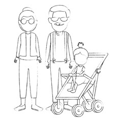 cute grandparents couple with granddaughter in cart