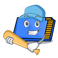 Playing baseball memory card character cartoon