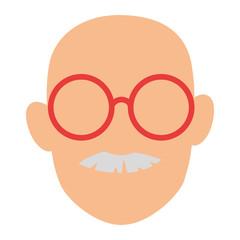 cute grandfather head avatar character
