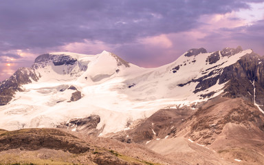 The Athabasca Glacier and Columbia Icefield.