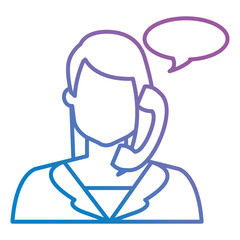 call center woman with telephone and speech bubble
