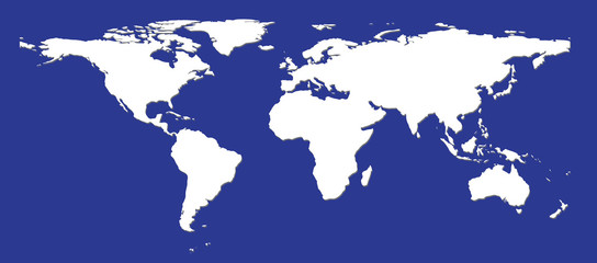 Acrylic Prints World Map flat white world map silhouette on a dark blue background with shadows.