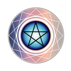 The Pentagram is a star with 5 points encased in a circle. One points upward meaning spirit. The other four points all represent an element; earth, air, fire and water.