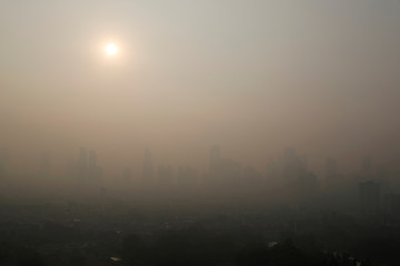 Aerial view as smog covers Jakarta ahead of Asian Games