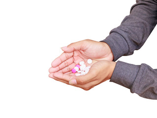 pills in hand male isolated on white background and clipping path. Stop drug use concept