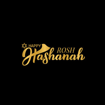 Rosh Hashanah. Jewish New Year. Hand lettering illustration for banner, flyer, print material, sticker, typography, poster, greeting card, postcard, logo. Calligraphy of gold color. Vector