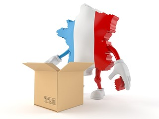 France character with open cardboard box