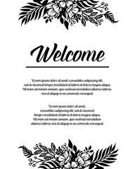 Collection of welcome card floral design vector illustration