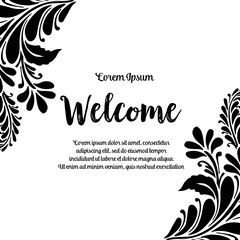 welcome with floral banner on White Background vector illustration